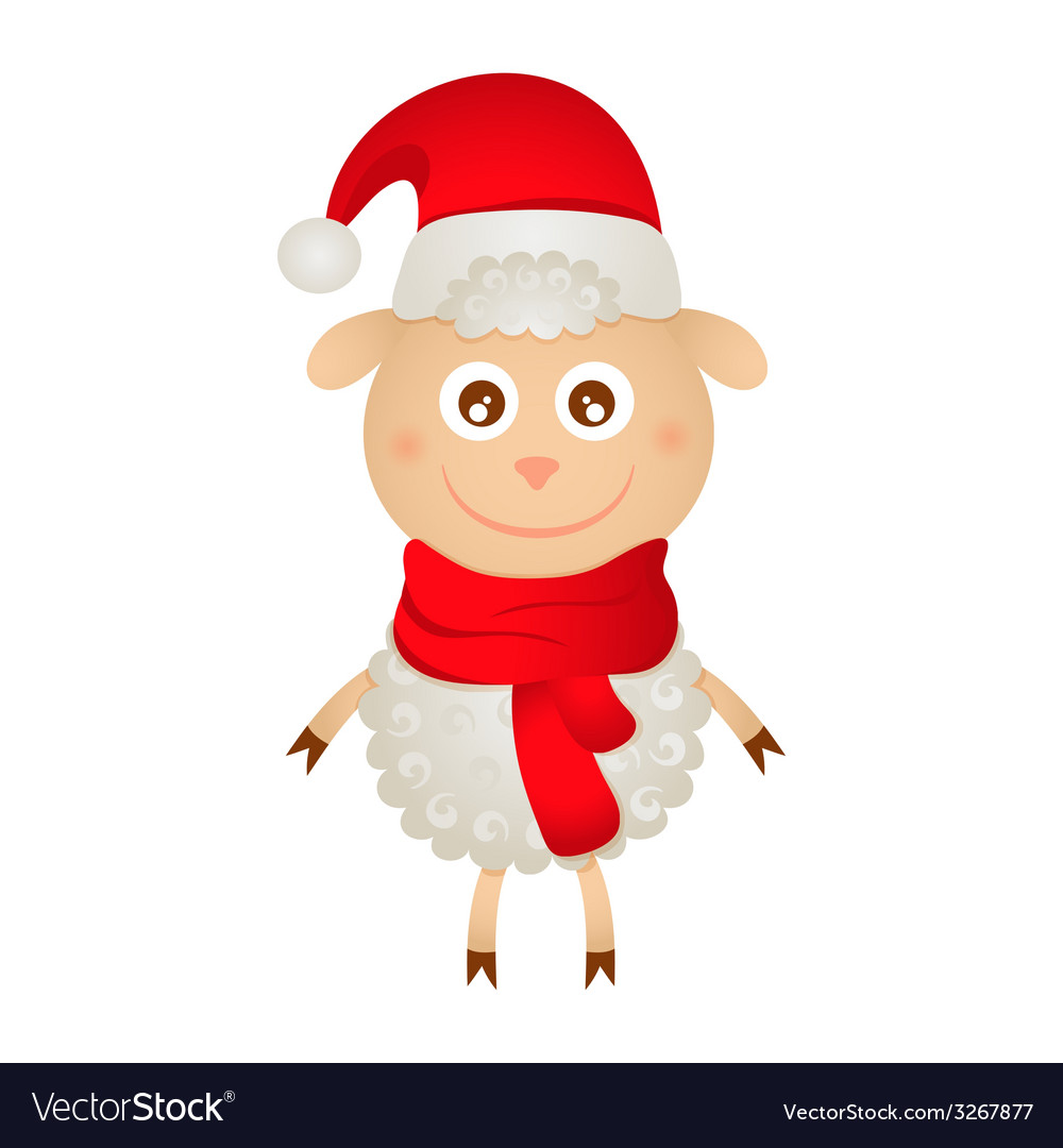 Cute sheep in a christmas hat vector | Price: 1 Credit (USD $1)