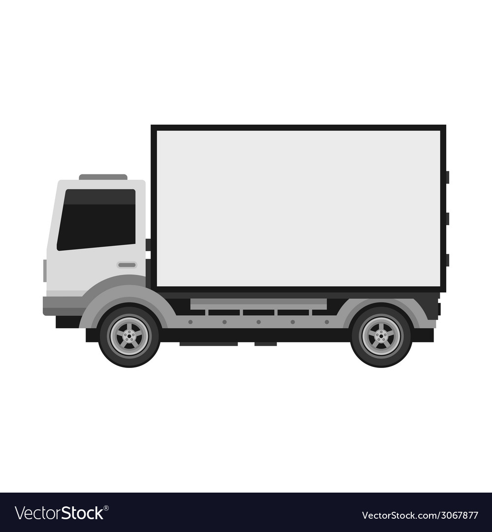 Delivery truck with blank mobile billboard vector | Price: 1 Credit (USD $1)