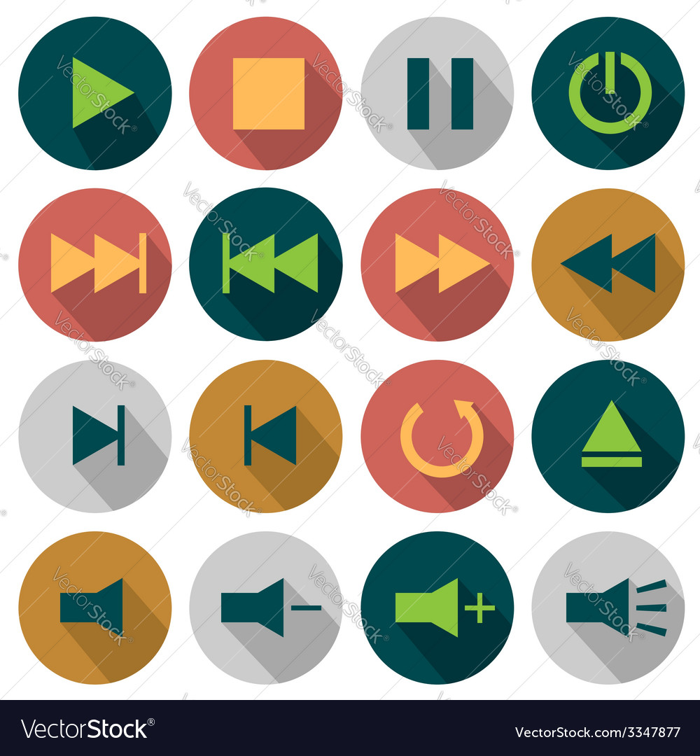 Flat media icons vector | Price: 1 Credit (USD $1)