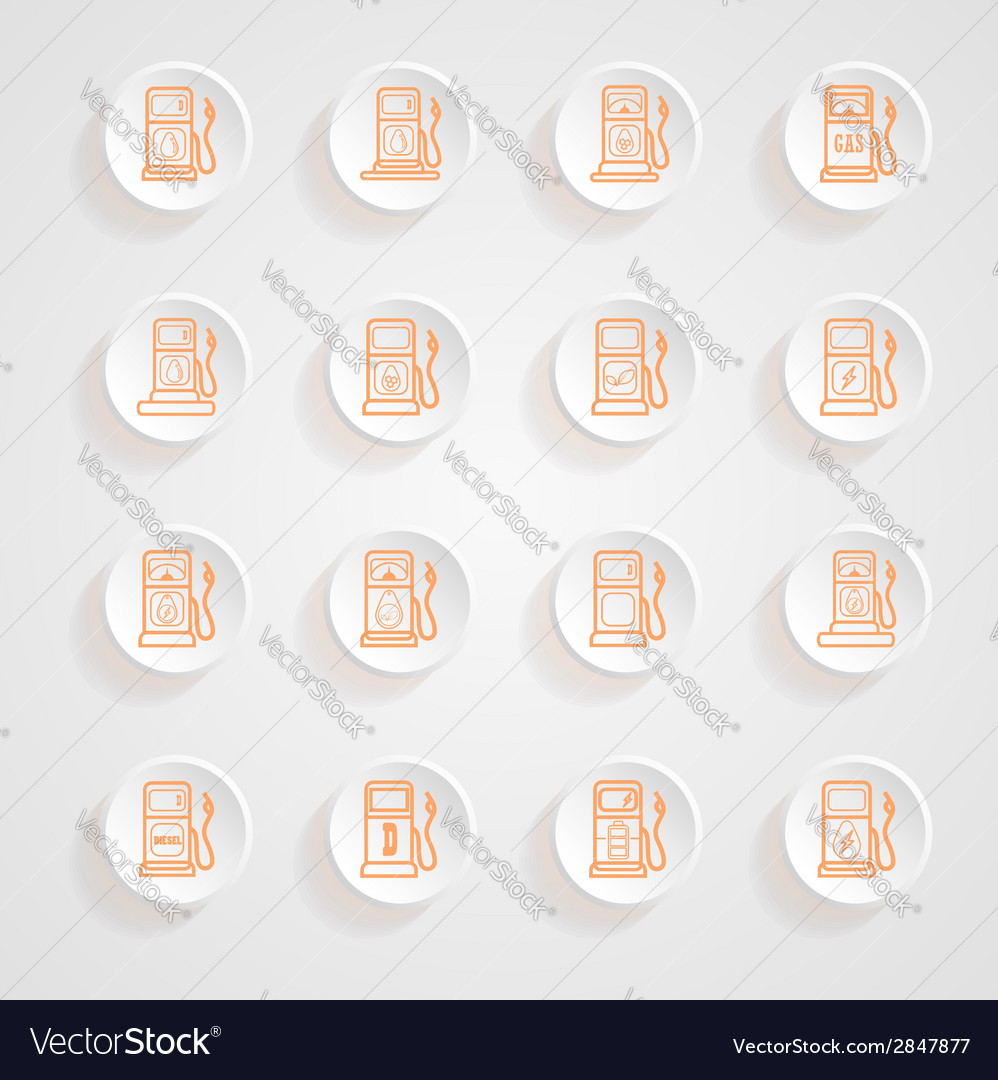 Gas pump icons button shadows set vector | Price: 1 Credit (USD $1)