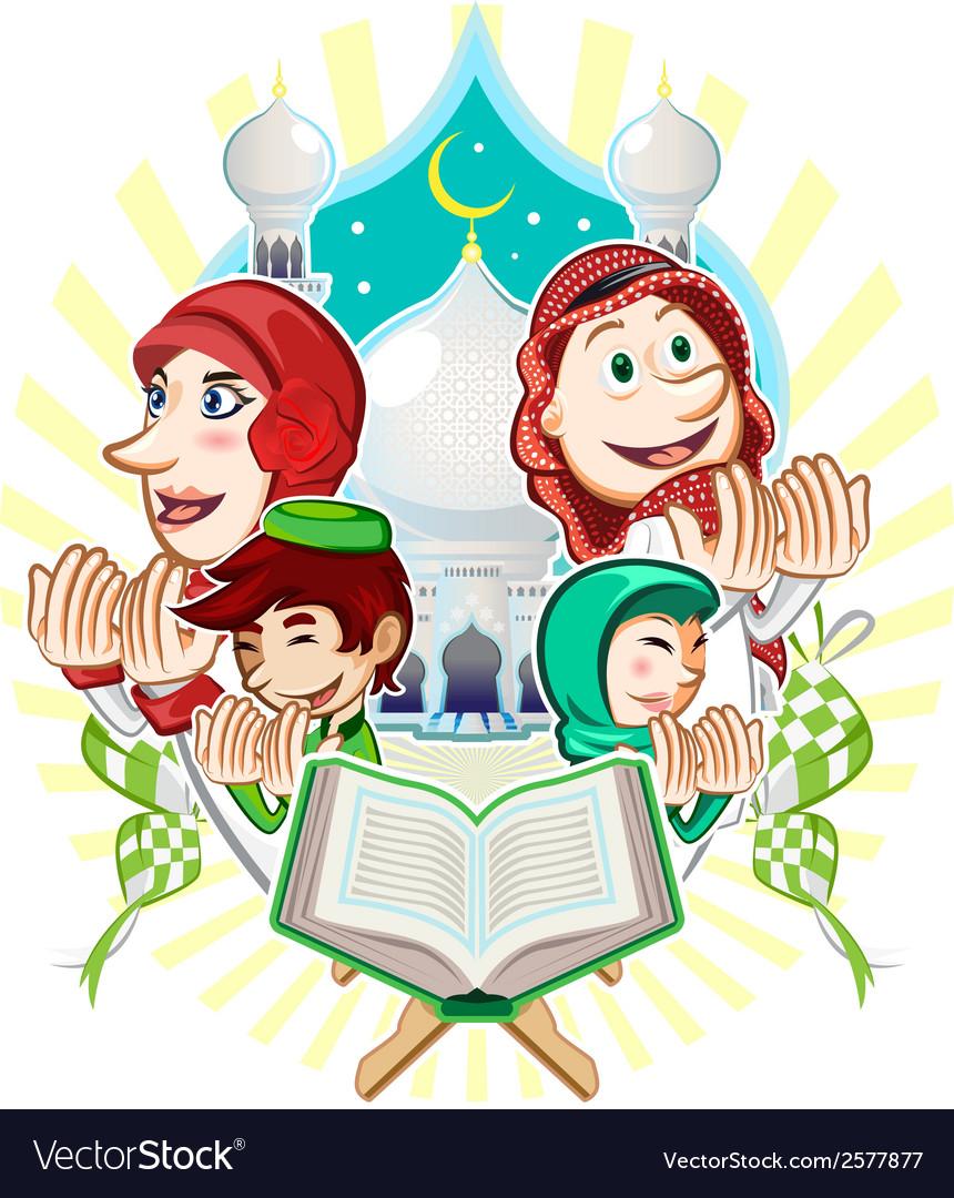 Islam eid mubarak greeting card vector | Price: 3 Credit (USD $3)