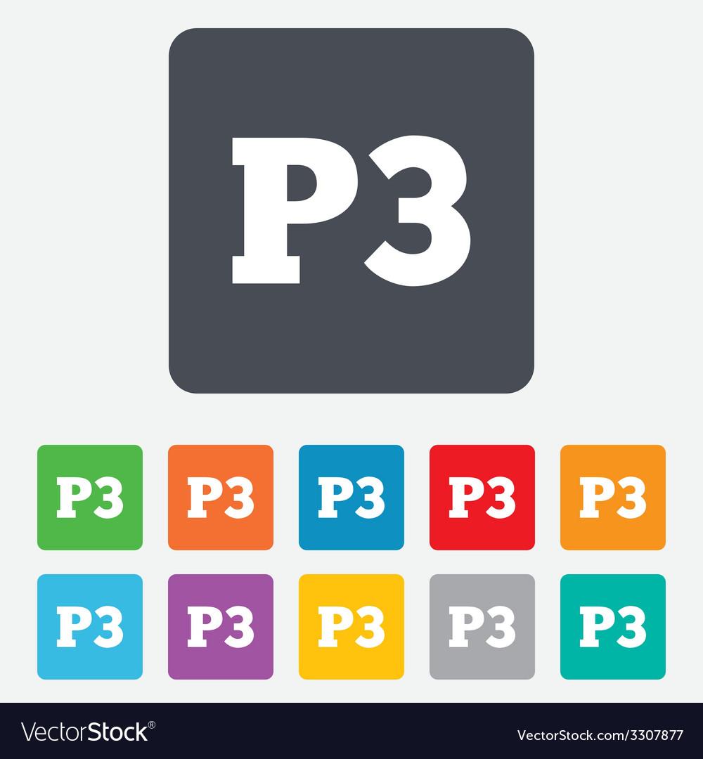 Parking third floor icon car parking p3 symbol vector | Price: 1 Credit (USD $1)