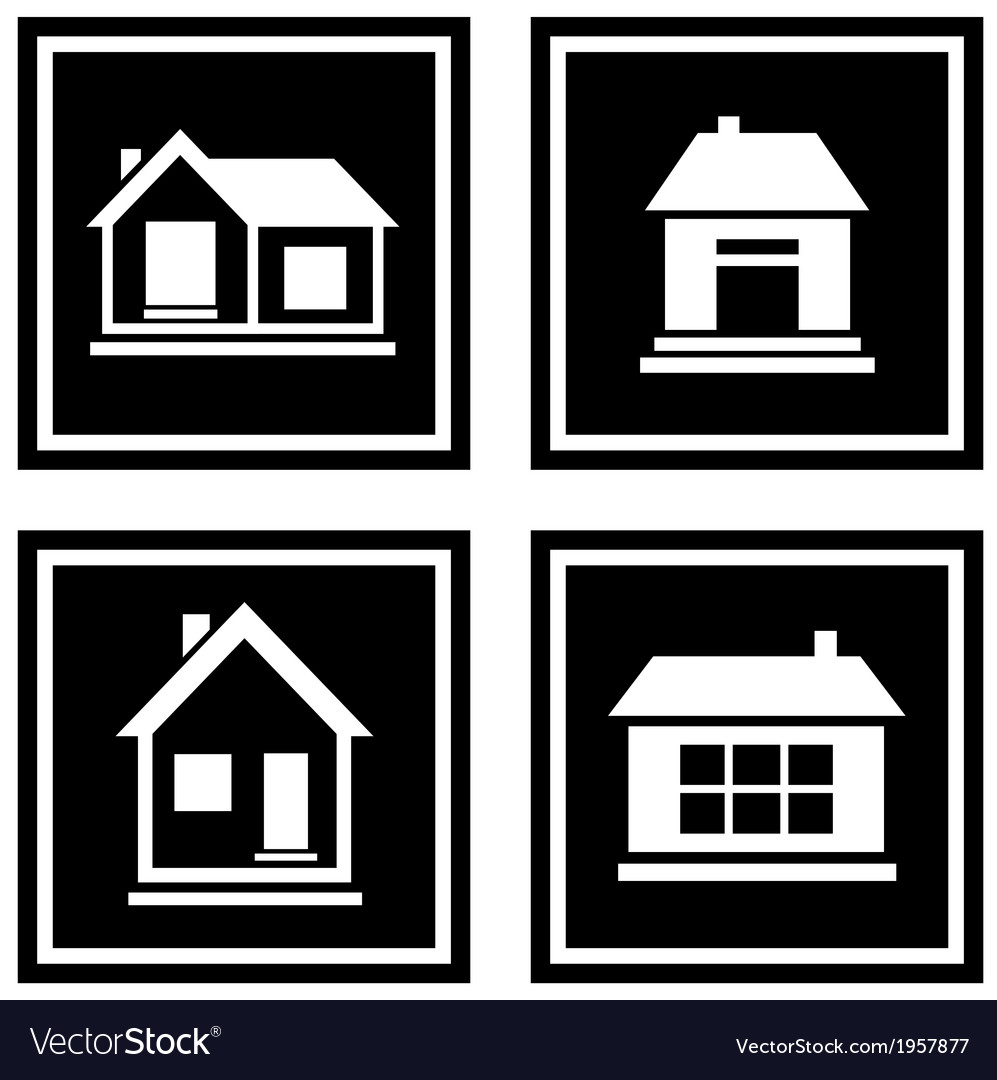 Set black house icons vector | Price: 1 Credit (USD $1)