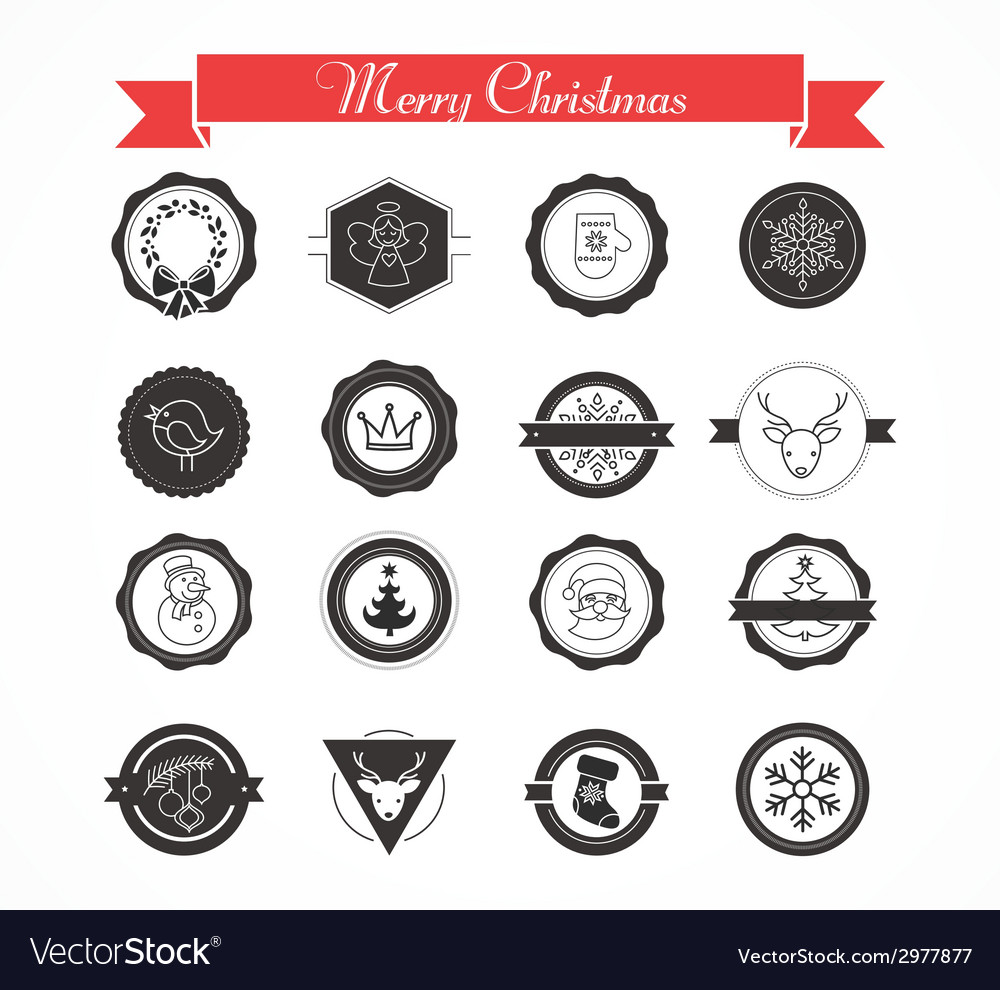 Set of labels designs and elements for christmas vector | Price: 1 Credit (USD $1)