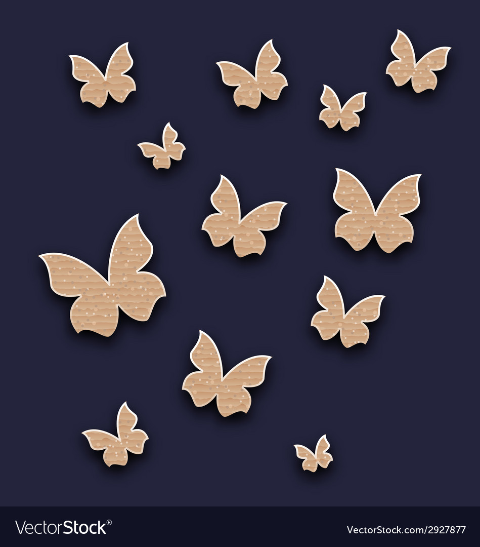 Wallpaper with butterflies made in carton paper vector | Price: 1 Credit (USD $1)