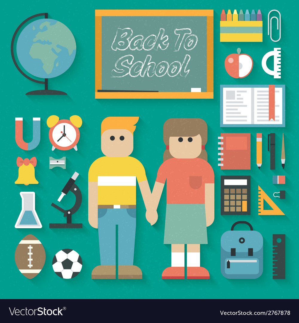 Back to school flat icons set vector | Price: 1 Credit (USD $1)