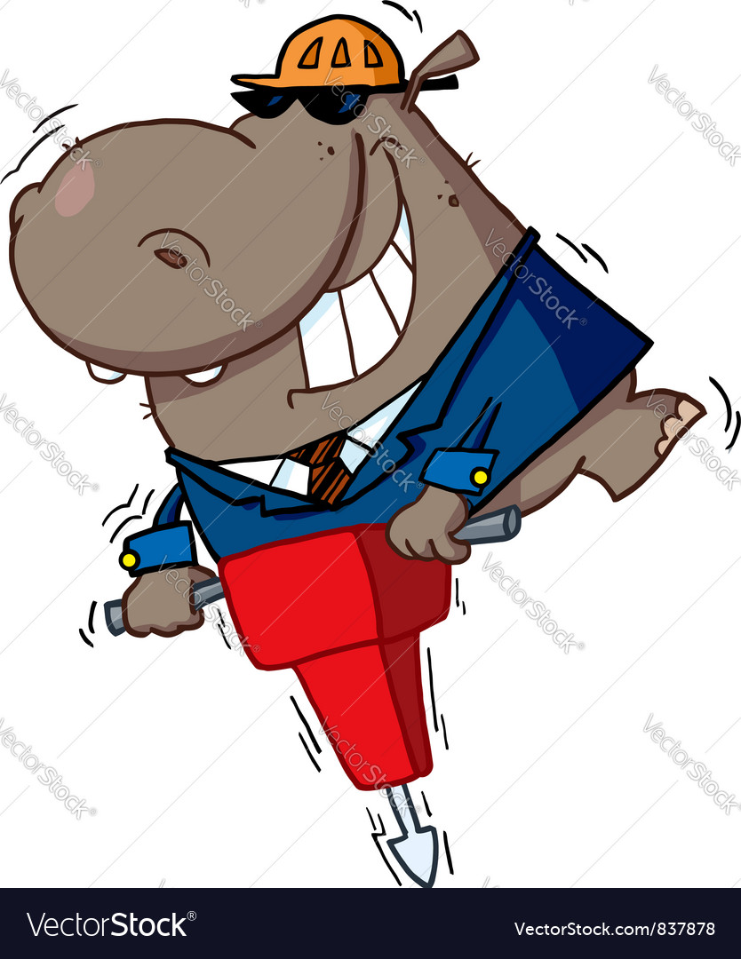 Hippo worker operating a vibrating jackhammer vector   Price: 1 Credit (USD $1)