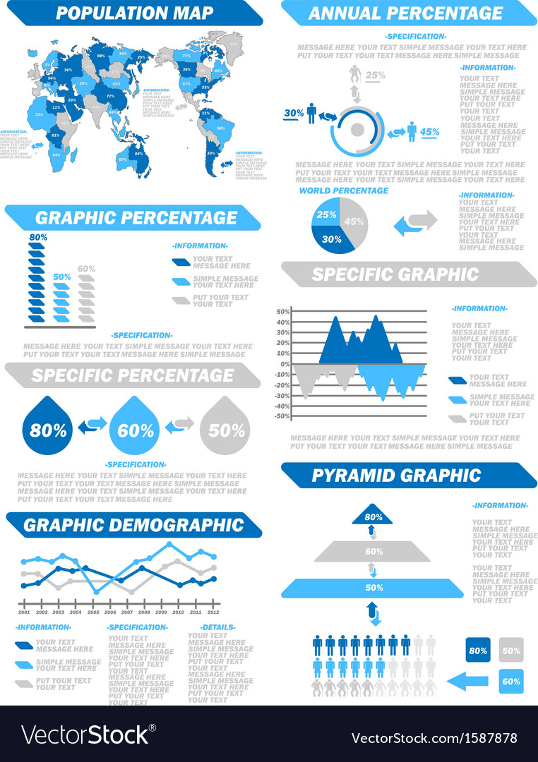 Infographic demographic elements new blue vector | Price: 1 Credit (USD $1)