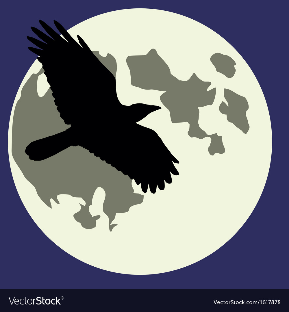 Moon black raven vector | Price: 1 Credit (USD $1)
