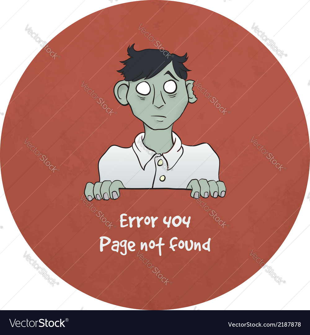 Sad young zombie - error 404 vector | Price: 1 Credit (USD $1)
