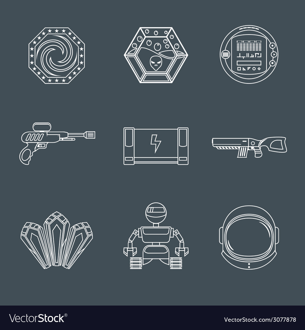 Space game icons vector | Price: 1 Credit (USD $1)