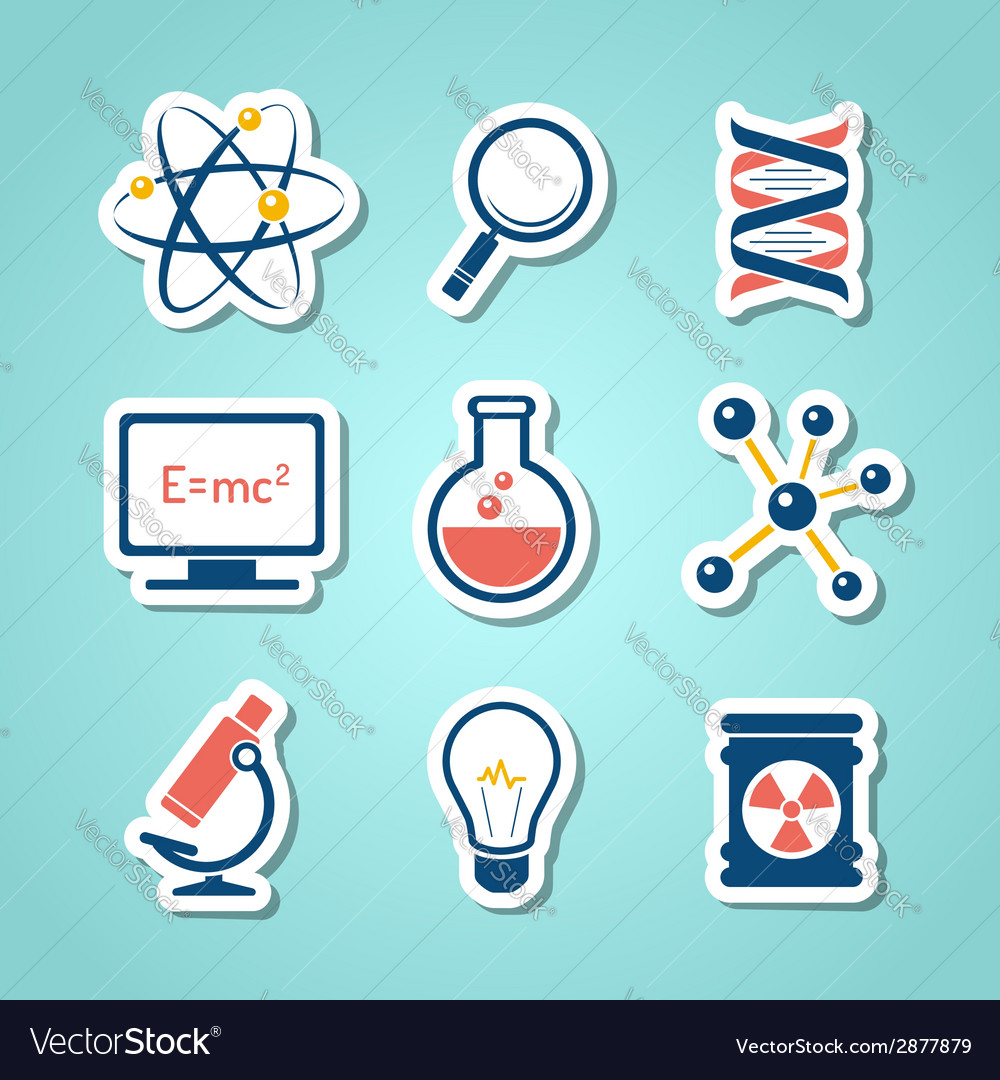 Chemistry and science paper cut icons vector | Price: 1 Credit (USD $1)