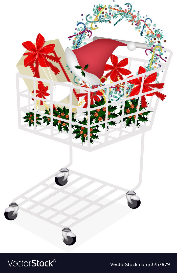 Christmas item and gift box in shopping cart vector | Price: 1 Credit (USD $1)