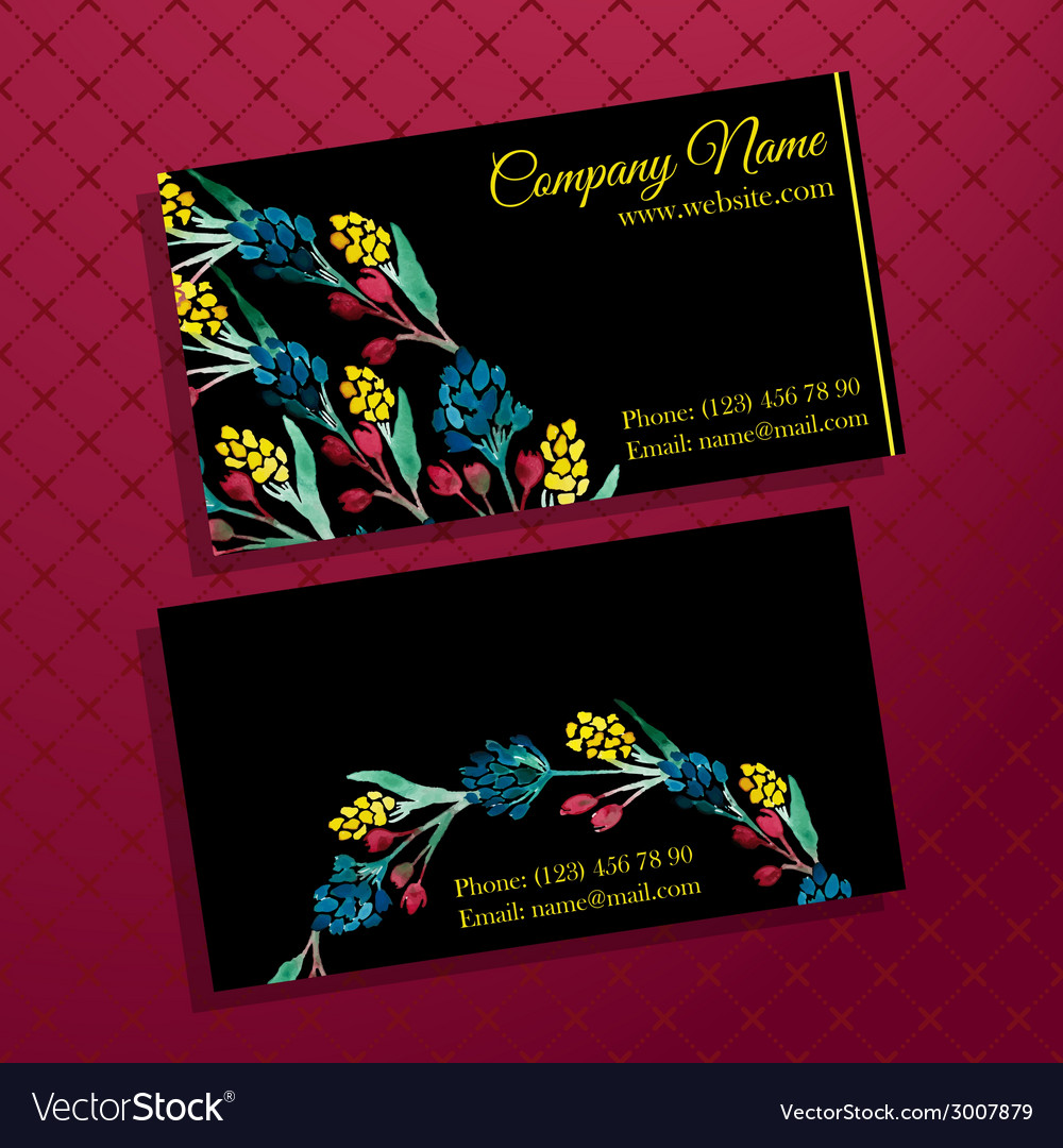 Elegant business card with bouquet of flowers vector | Price: 1 Credit (USD $1)
