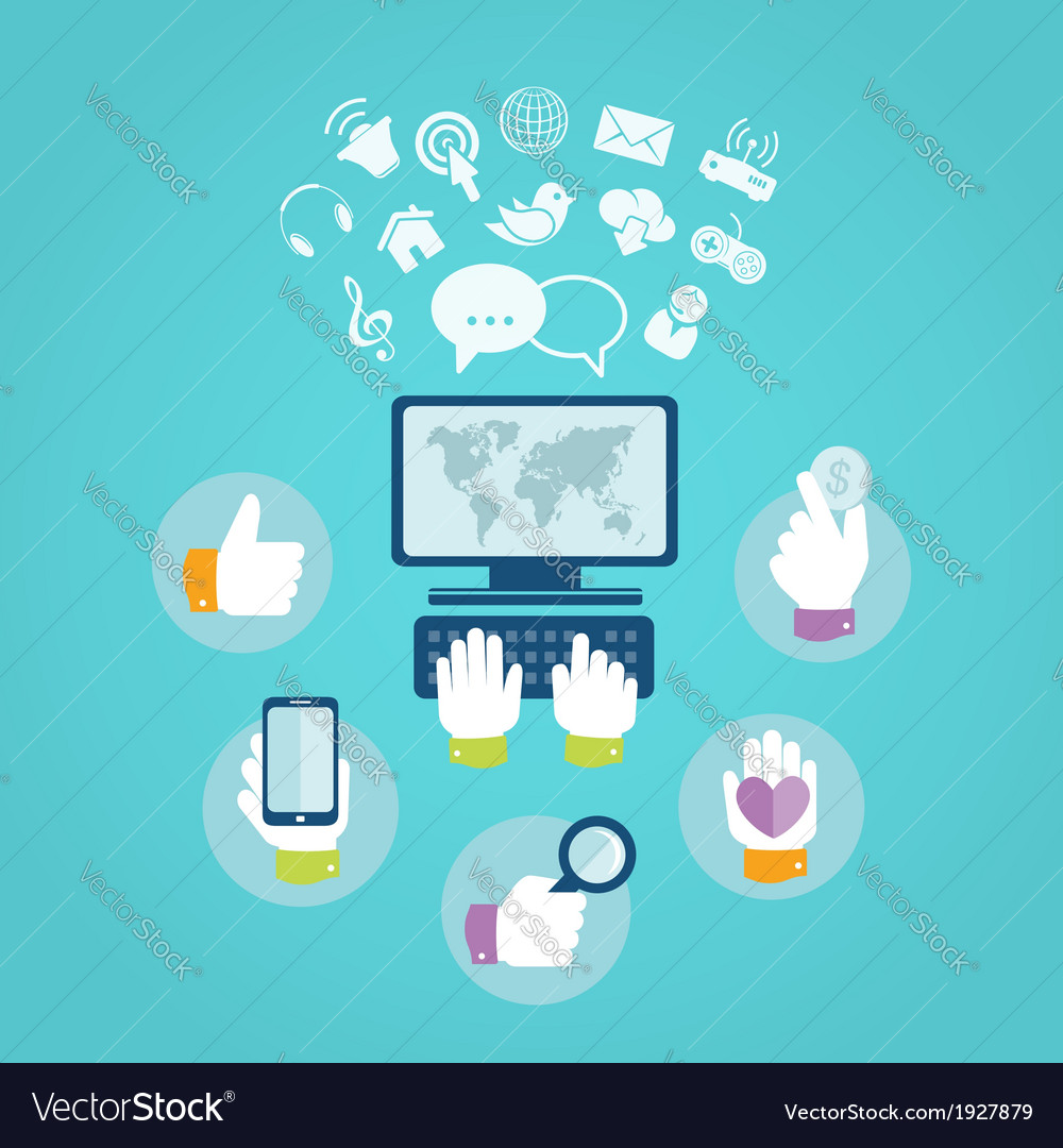 Flat design concept of computer and internet vector | Price: 1 Credit (USD $1)