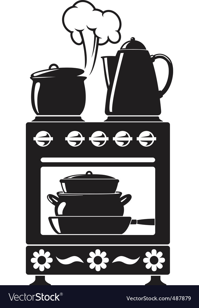 Kitchenware on the stove vector | Price: 1 Credit (USD $1)