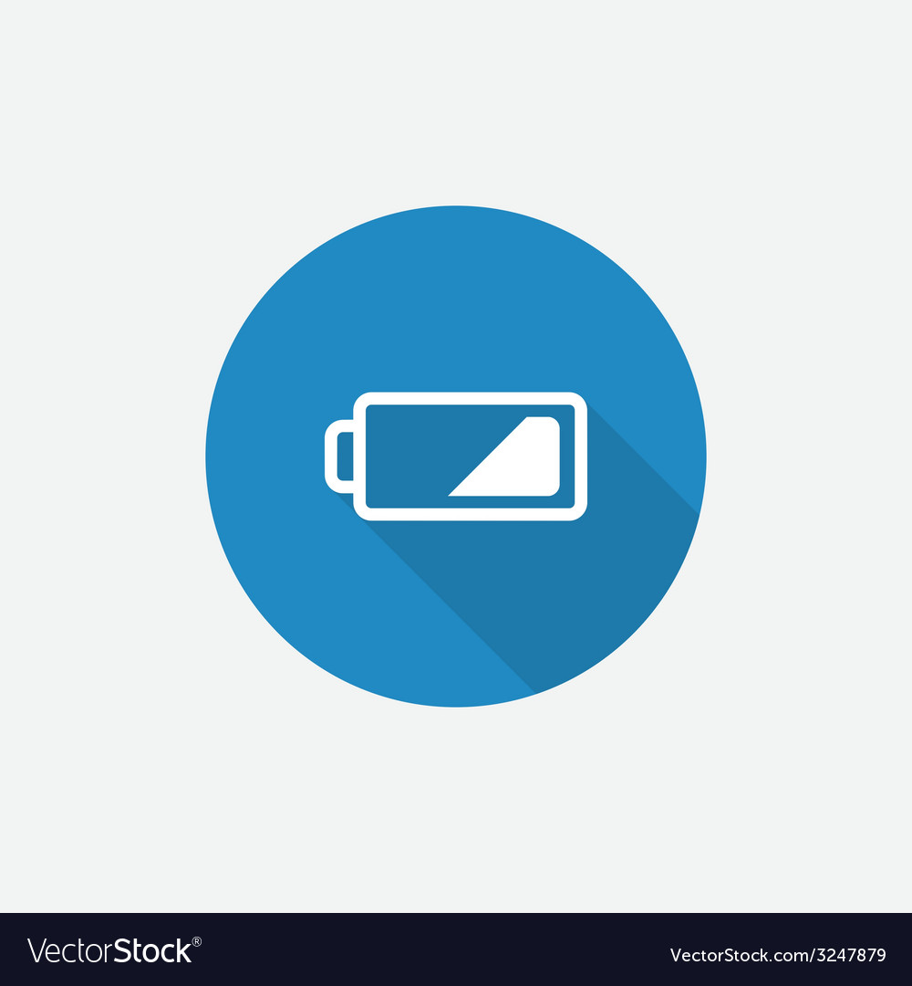 Low battery flat blue simple icon with long shadow vector | Price: 1 Credit (USD $1)