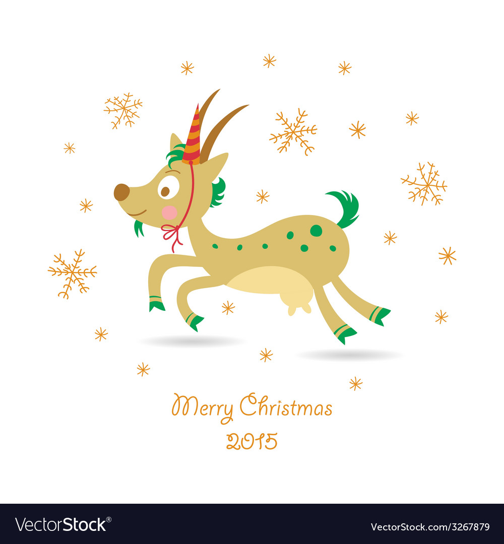 Merry christmas greeting card with a goat vector | Price: 1 Credit (USD $1)