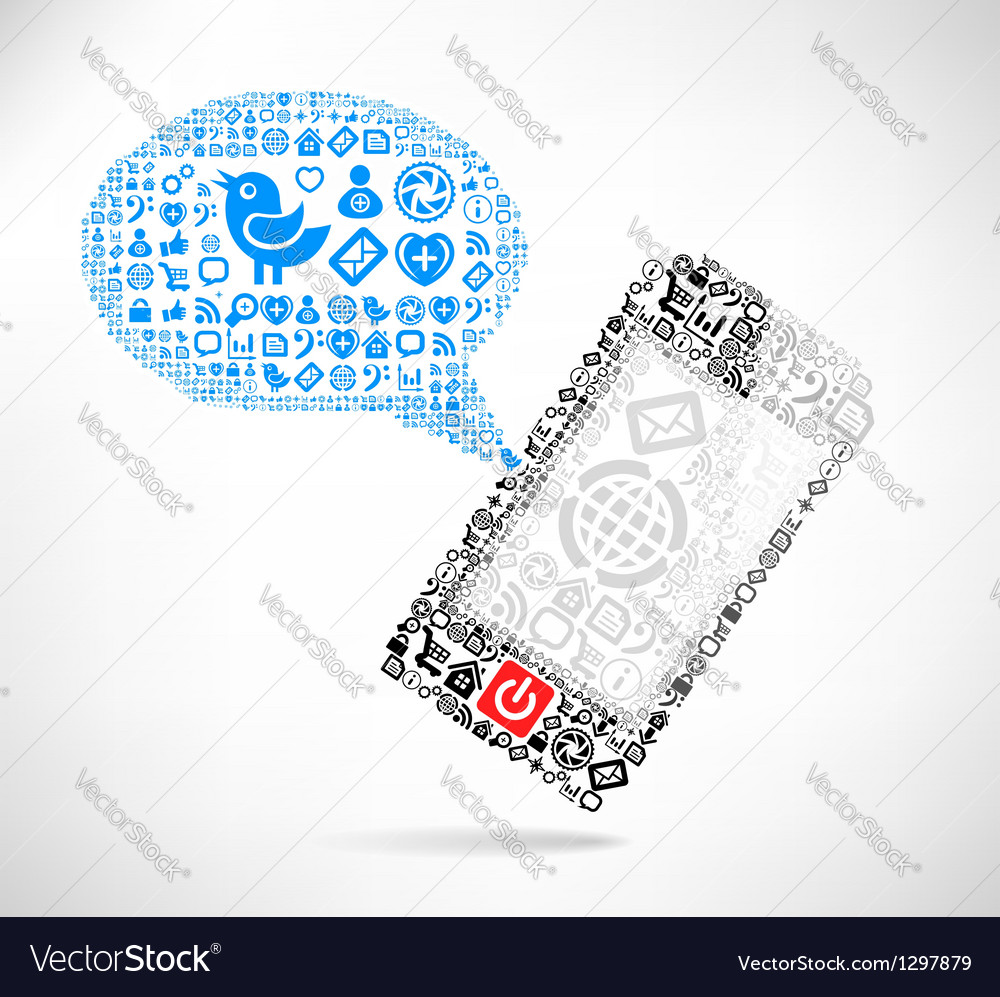 Mobile phone text message vector | Price: 1 Credit (USD $1)