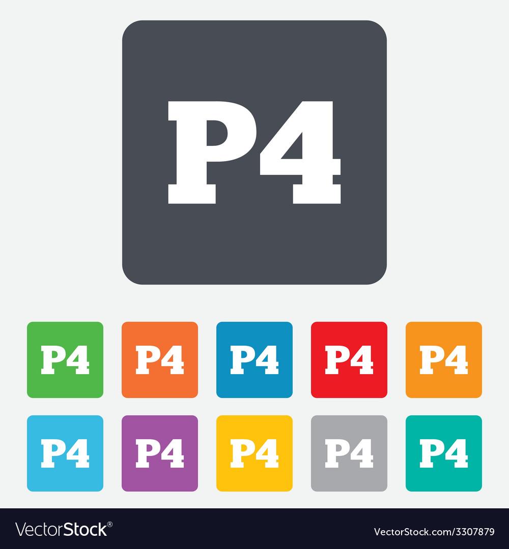 Parking fourth floor icon car parking p4 symbol vector | Price: 1 Credit (USD $1)
