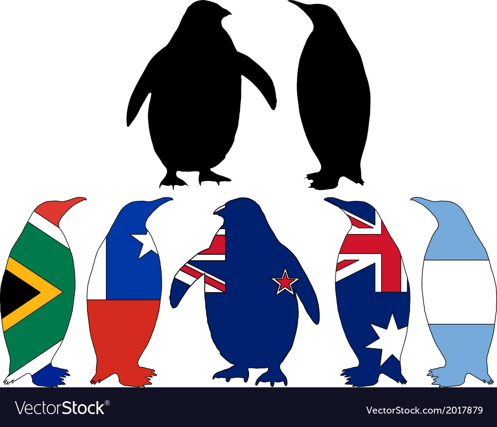 Penguin flags vector | Price: 1 Credit (USD $1)