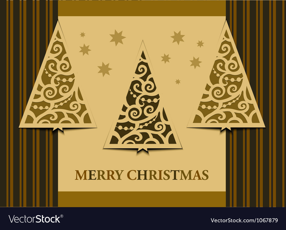 Postcard three christmas trees retro vector | Price: 1 Credit (USD $1)