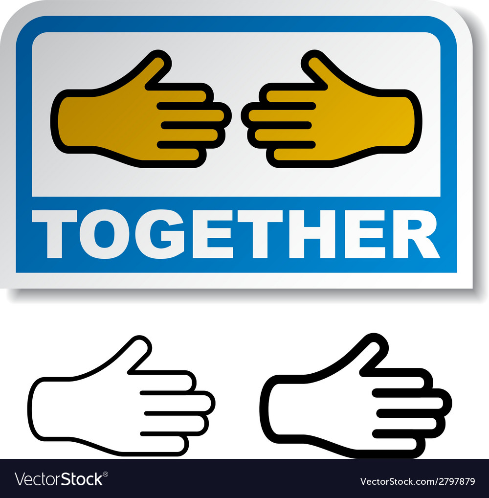 Together shake hands sticker vector | Price: 1 Credit (USD $1)