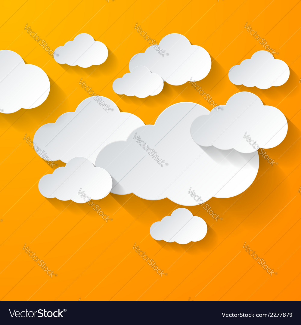 White clouds on orange background vector | Price: 1 Credit (USD $1)