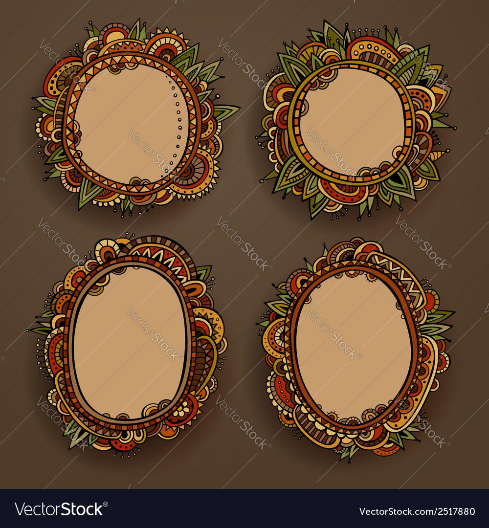 Abstract decorative set of ethnic cartoon border vector | Price: 1 Credit (USD $1)