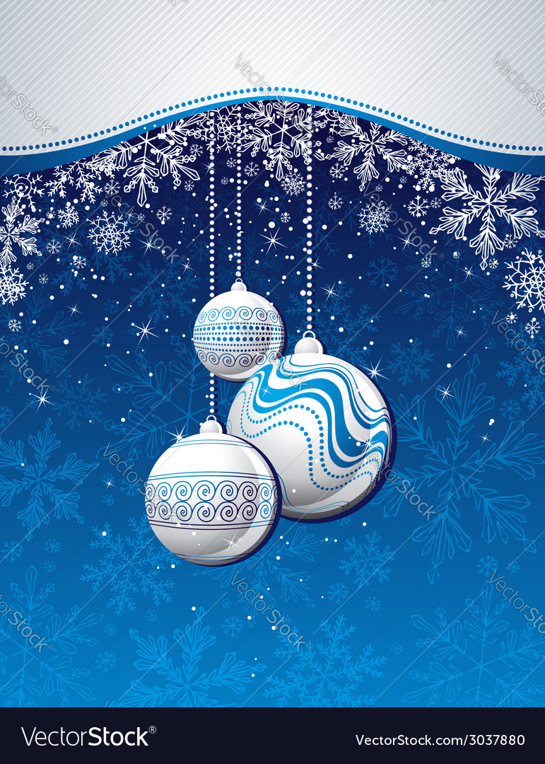 Blue christmas background with golden balls vector | Price: 1 Credit (USD $1)