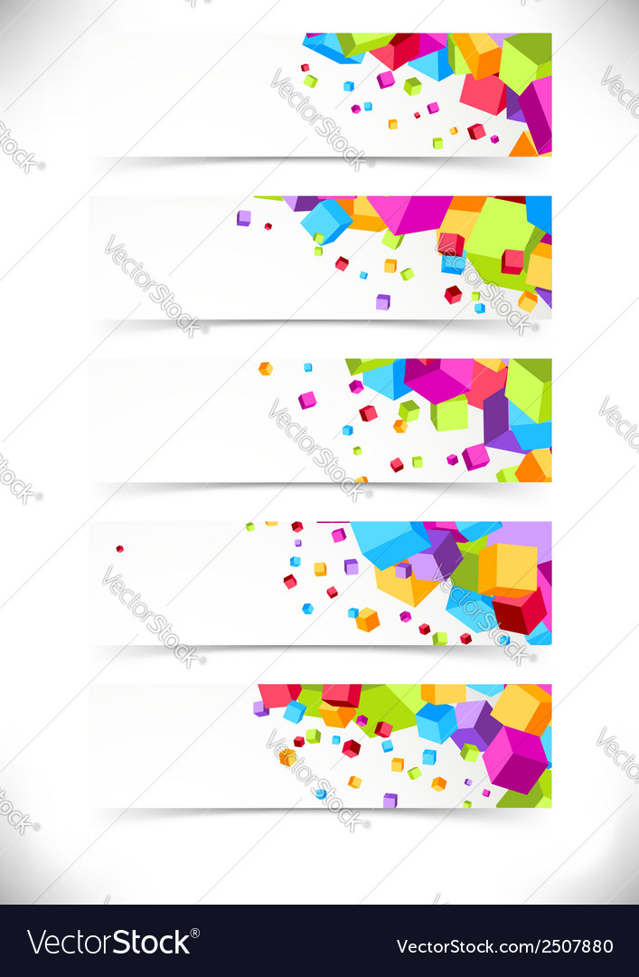 Bright colorful cube cards collection vector | Price: 1 Credit (USD $1)