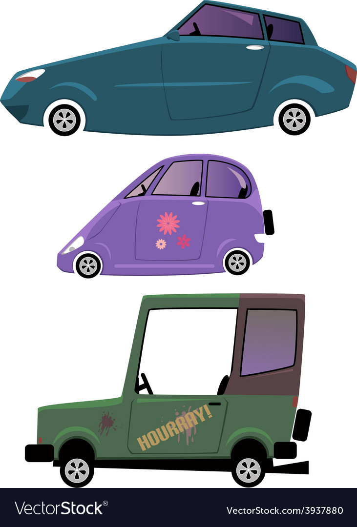 Cartoon cars set isolated on white vector | Price: 1 Credit (USD $1)