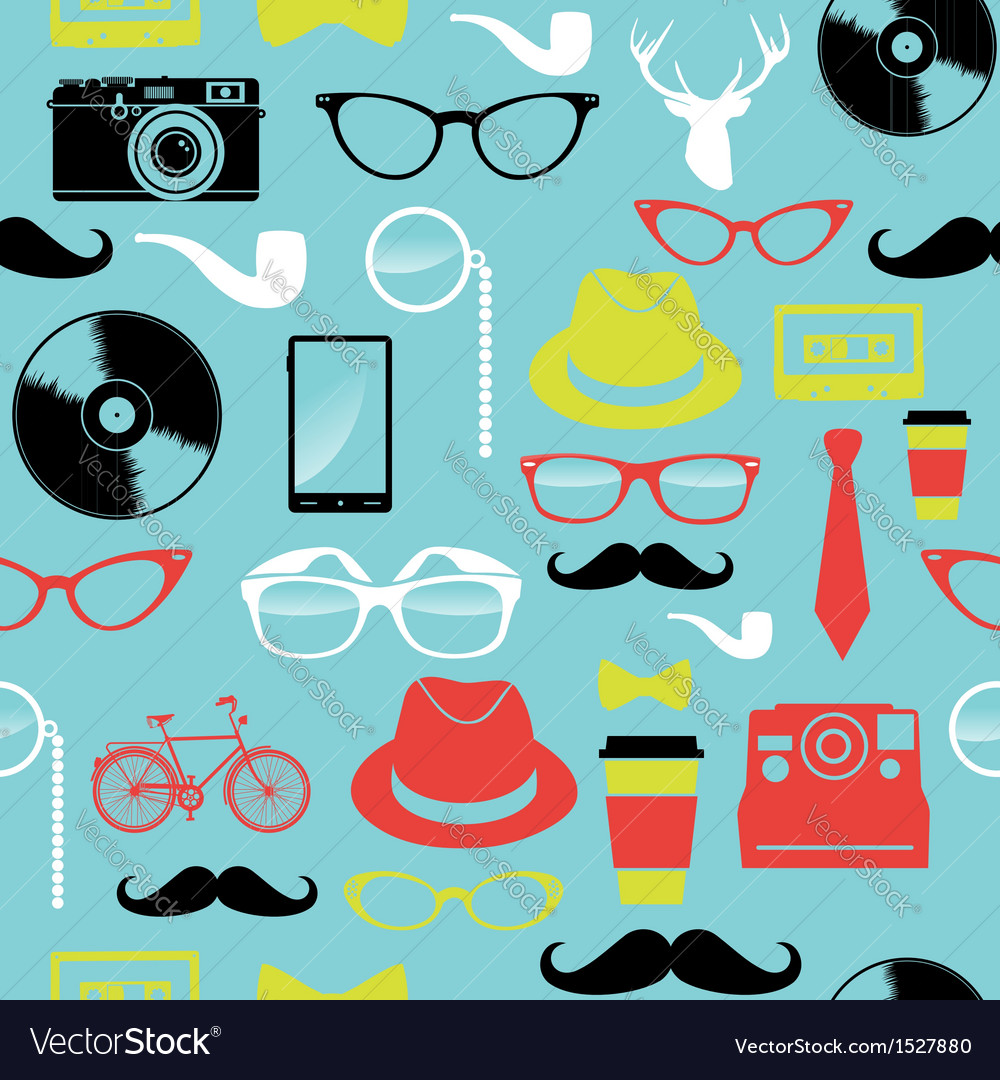 Colorful retro hipsters icons seamless pattern vector | Price: 1 Credit (USD $1)