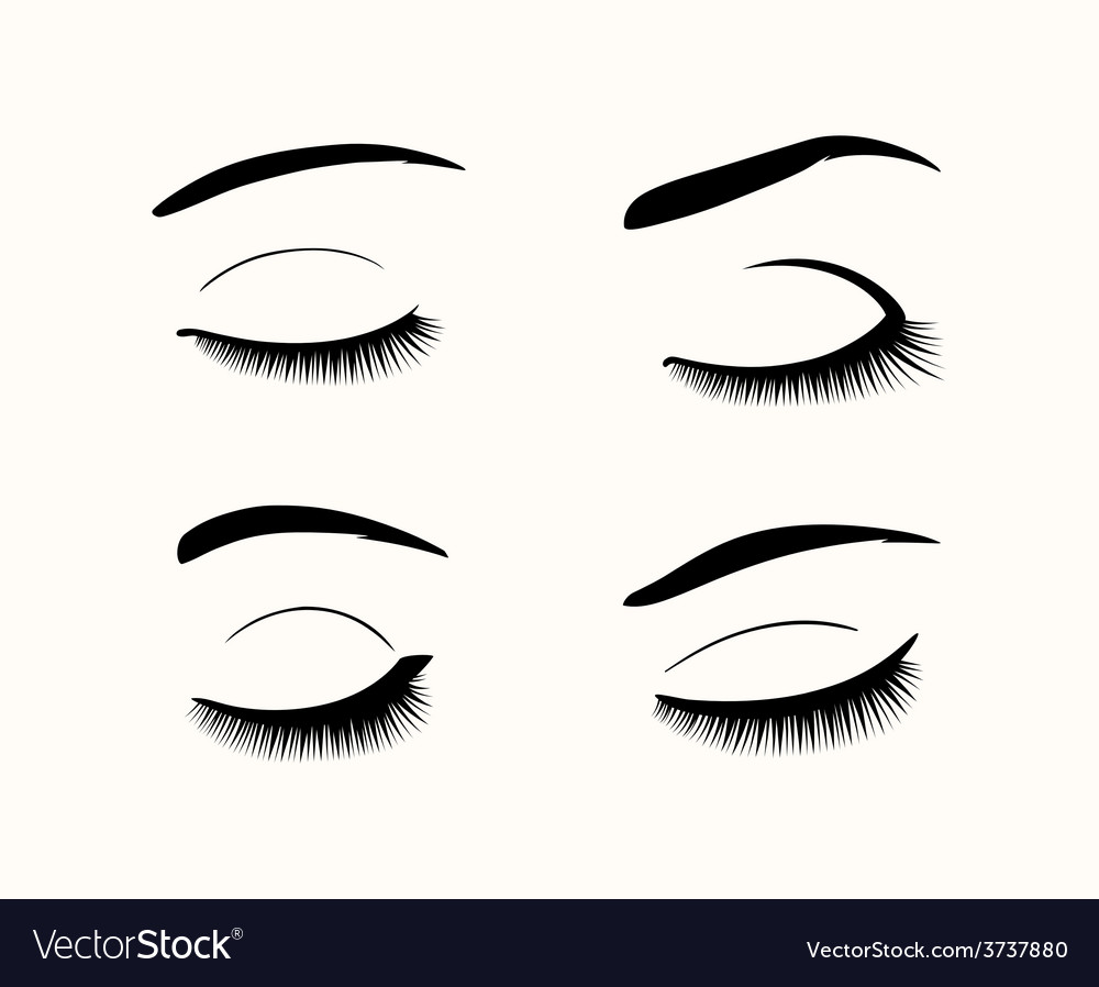 Eyelashes and eyebrows silhouettes vector | Price: 1 Credit (USD $1)