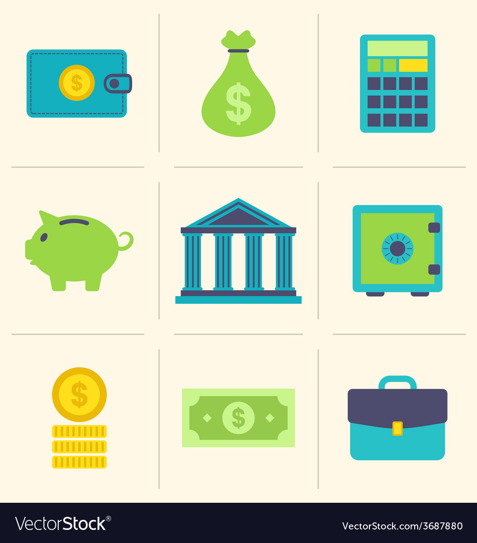 Flat icons of financial and business items - vector   Price: 1 Credit (USD $1)