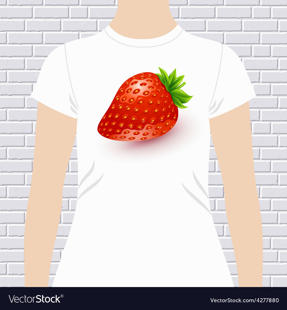Fun t-shirt design with a luscious ripe strawberry vector   Price: 1 Credit (USD $1)