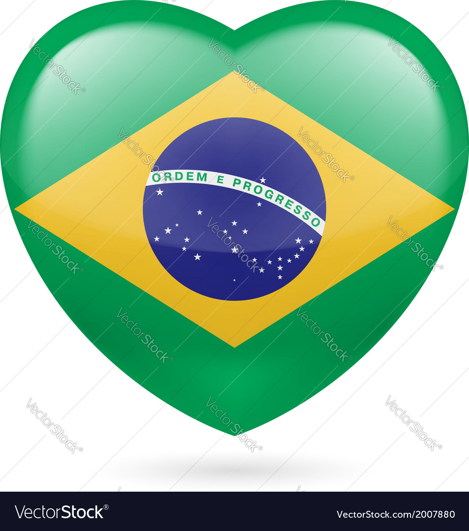 Heart icon of brazil vector | Price: 1 Credit (USD $1)