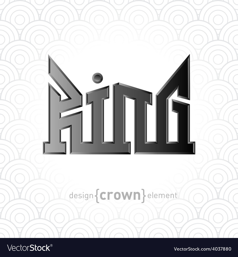 Luxury silver king crown design element on vector | Price: 1 Credit (USD $1)