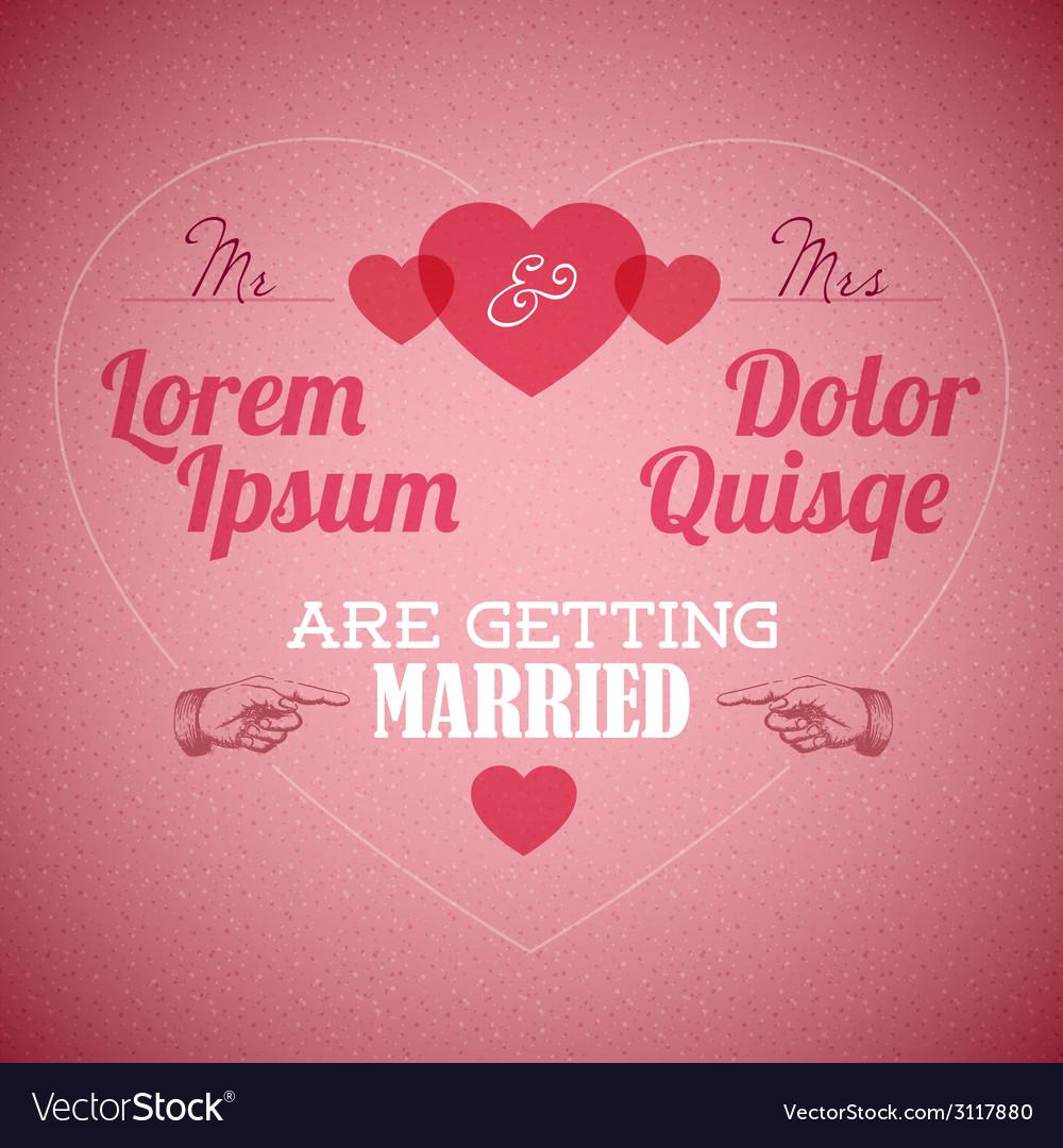 Retro wedding invitation with hearts vector | Price: 1 Credit (USD $1)