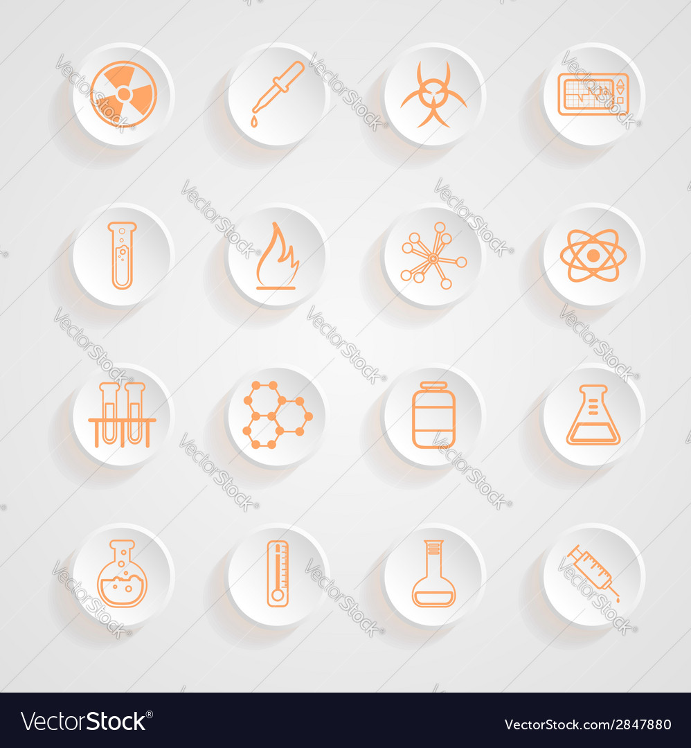 Science series icons button shadows set vector | Price: 1 Credit (USD $1)