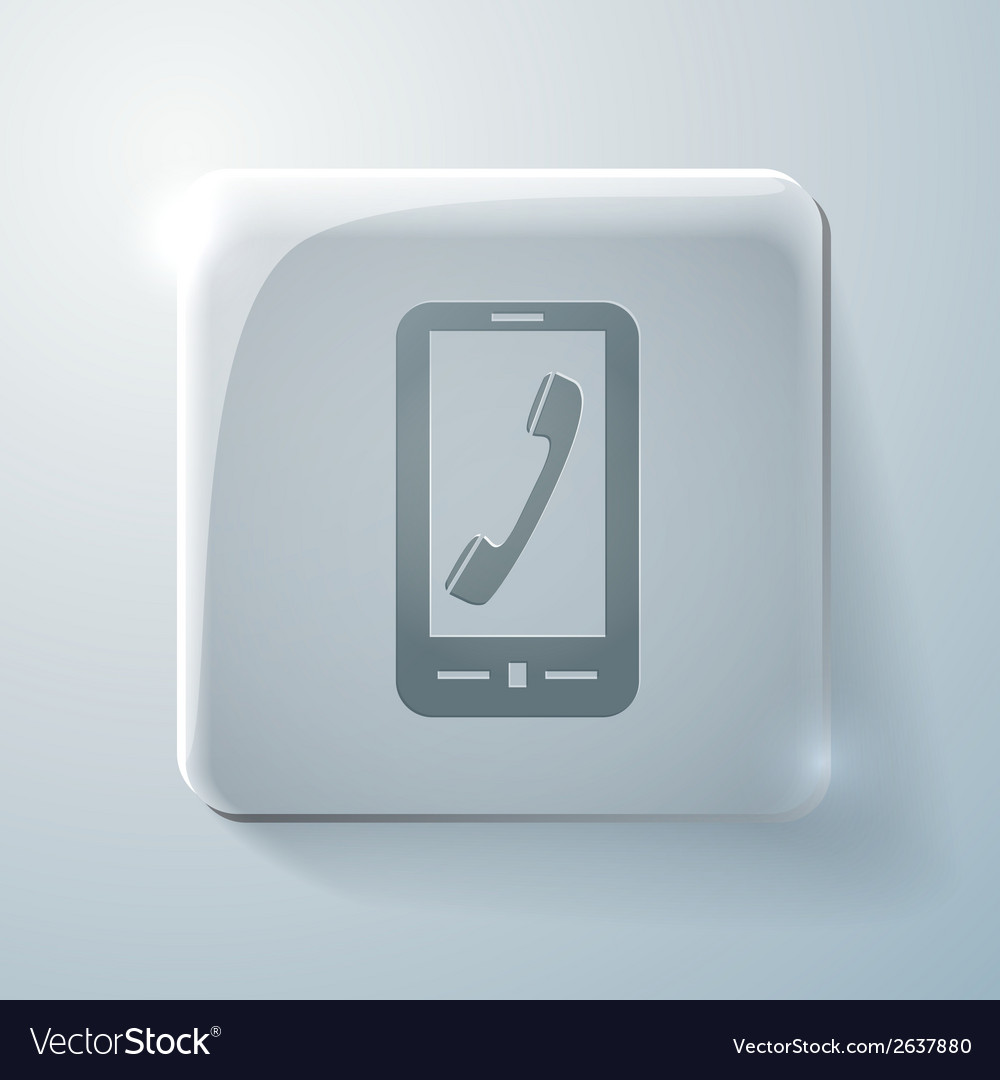 Telephone handset glass square icon vector | Price: 1 Credit (USD $1)