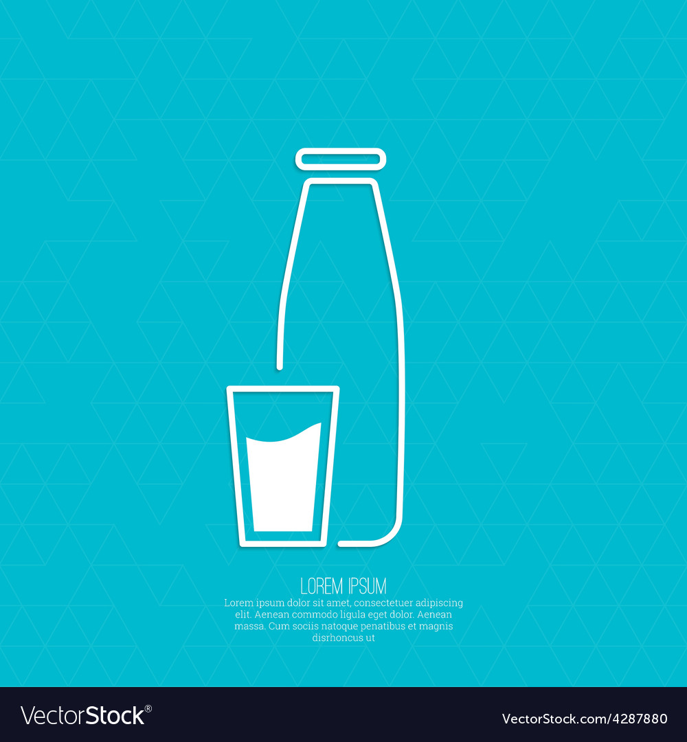 The traditional bottle of milk and glass cup vector | Price: 1 Credit (USD $1)