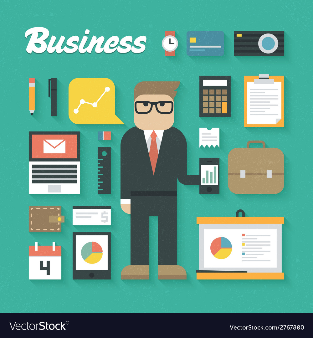 Trendy business flat icons se vector | Price: 1 Credit (USD $1)