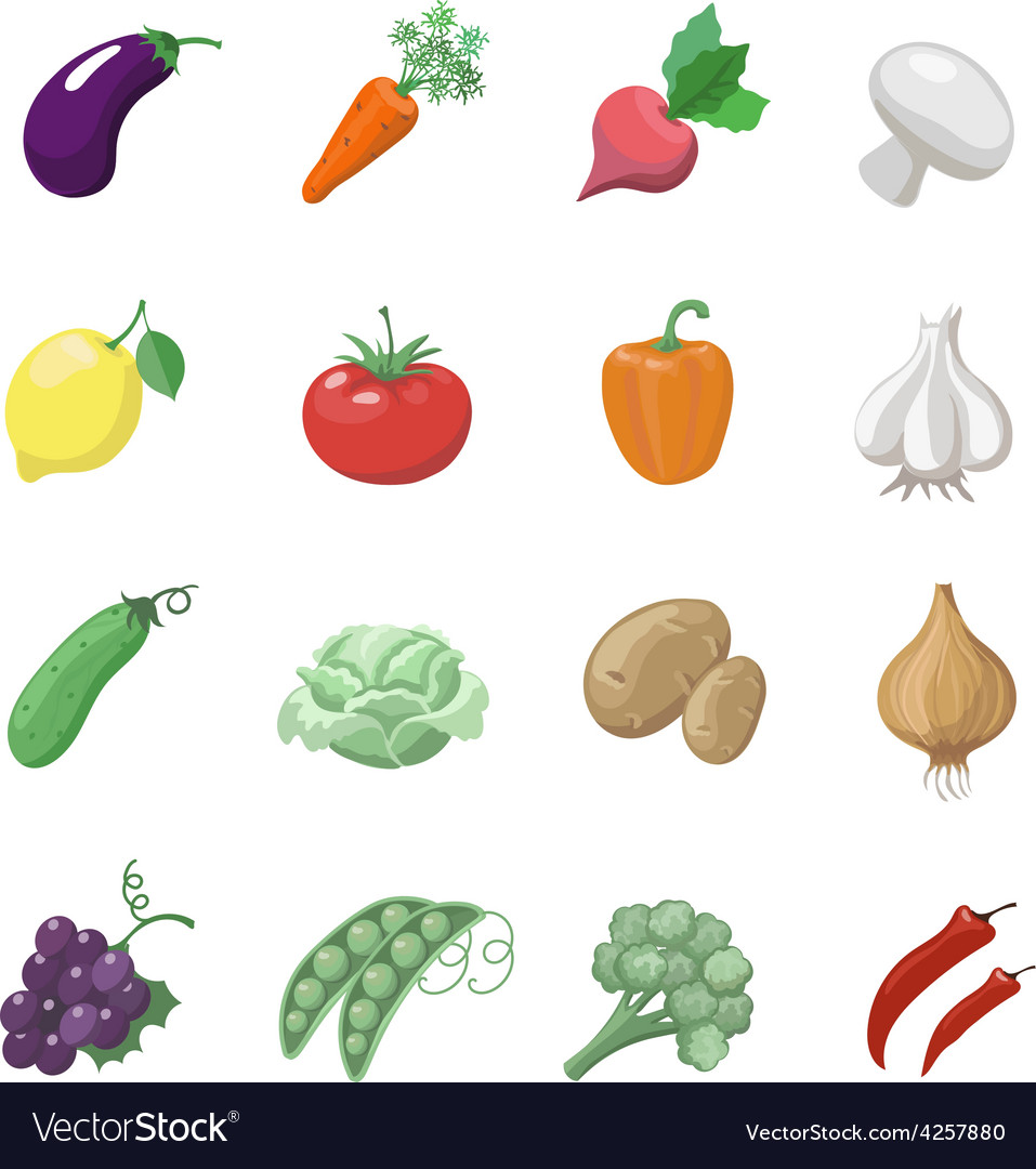 Vegetables icons flat set with potatoes broccoli vector | Price: 1 Credit (USD $1)