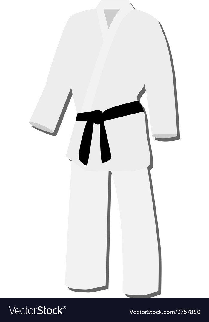 White kimono with black belt vector | Price: 1 Credit (USD $1)
