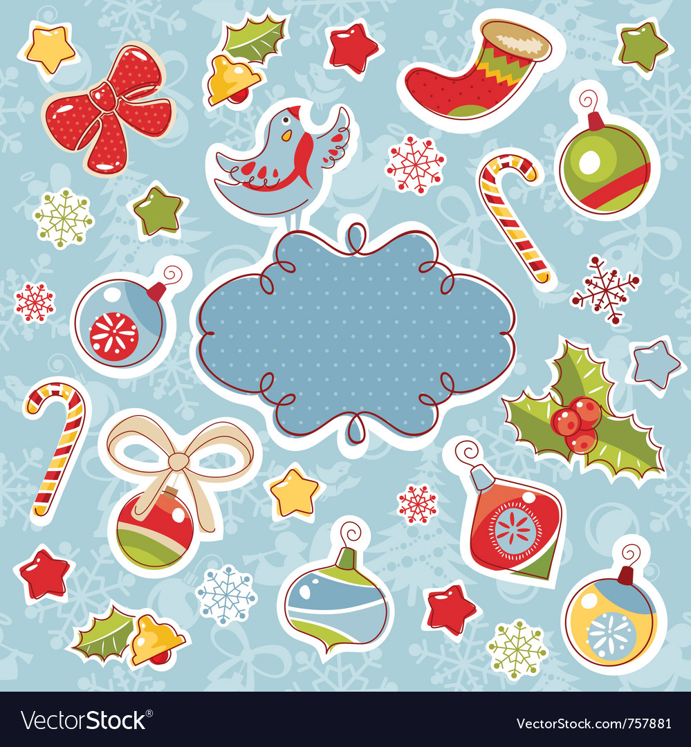 Abstract cute ornate christmas frame vector | Price: 3 Credit (USD $3)