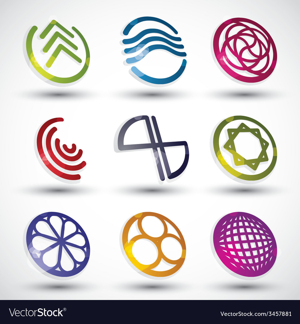 Abstract icons of different shapes set 2 vector | Price: 1 Credit (USD $1)