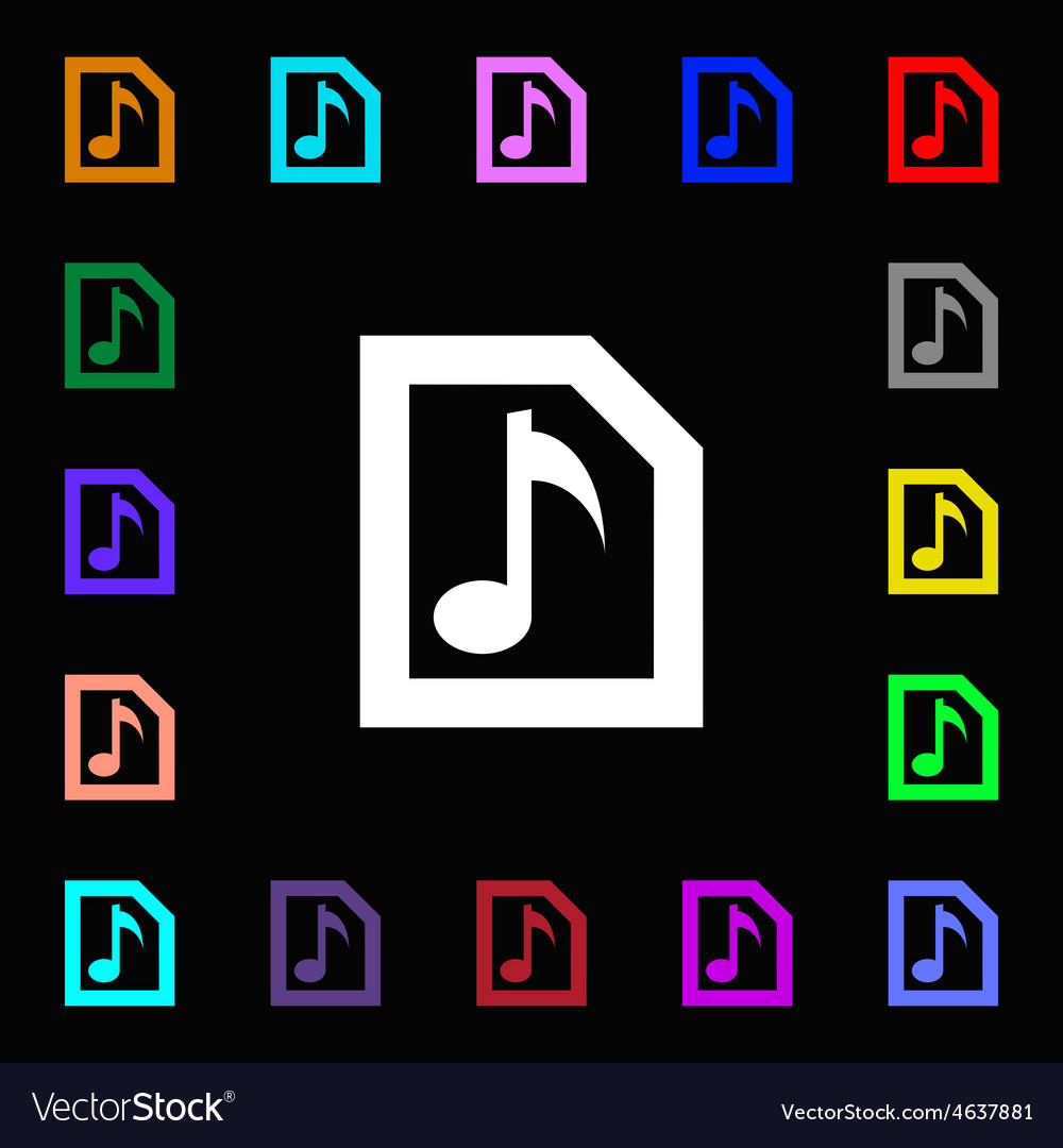 Audio mp3 file icon sign lots of colorful symbols vector | Price: 1 Credit (USD $1)