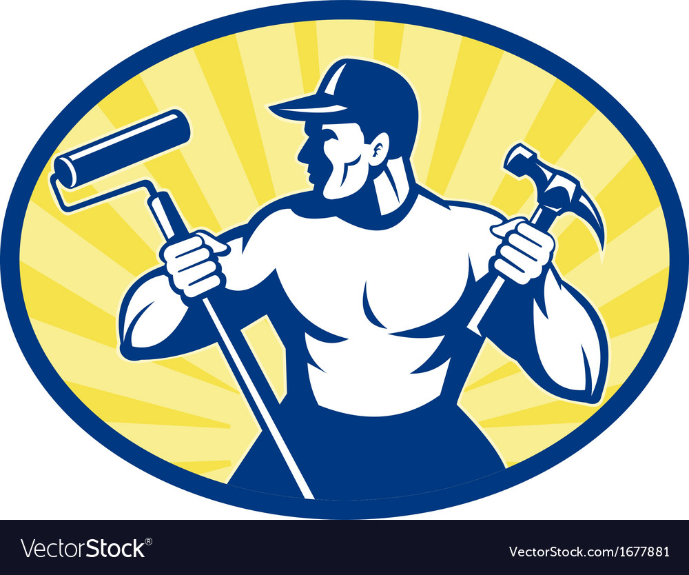 Carpenter painter with paint roller and hammer vector | Price: 1 Credit (USD $1)
