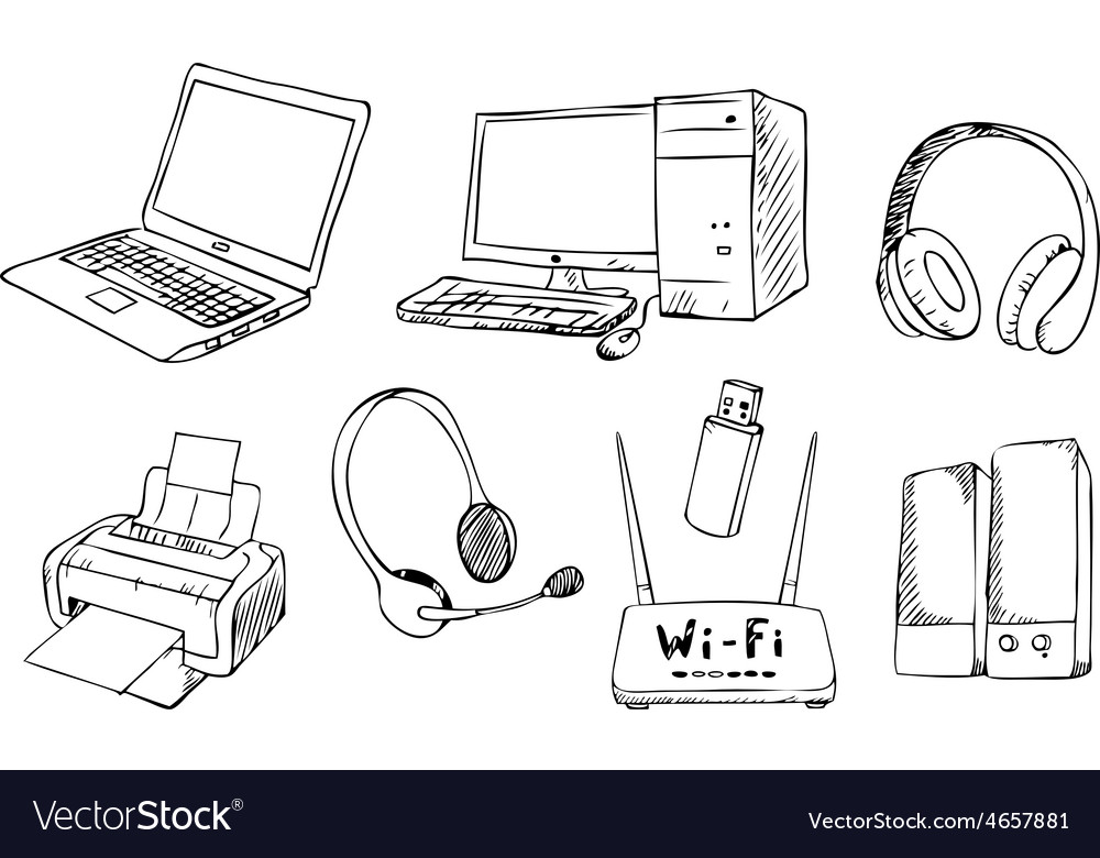 Computer technology set vector | Price: 1 Credit (USD $1)